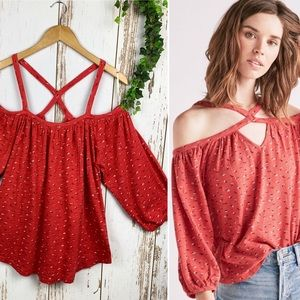 Lucky NWT Ditzy Daisy Red Cotton Off Shoulder Top
